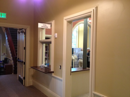 CENTER HALLWAY AFTER THE RENOVATION. NEW SERVICE WINDOWS FOR PROBATE AND CIVIL DIVISIONS