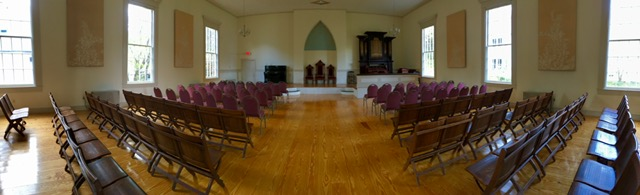 Interior Of The York Street Meeting House – Upright Steeple Society – Lyndon, VT
